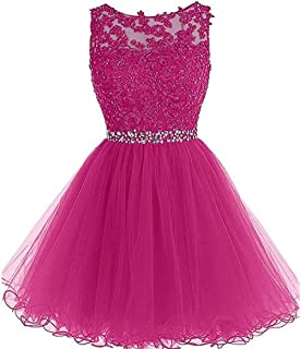 7a5e5a9e1a Chugu Short Prom Party Dress Homecoming Dresses for Women Teens A Line Tulle  Beaded C6