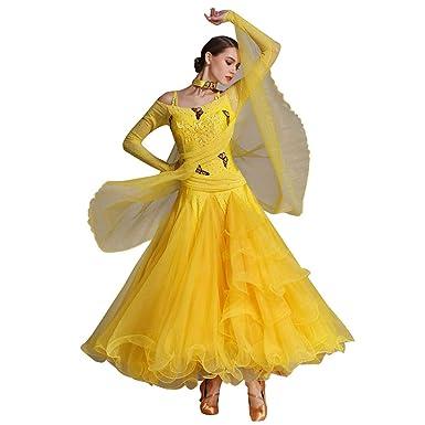 0c44b7950 YEERONG Women Standard Ballroom Dance Competition Dresses Long  Sleeve,Modern Tango Skirt Smooth Dance Social