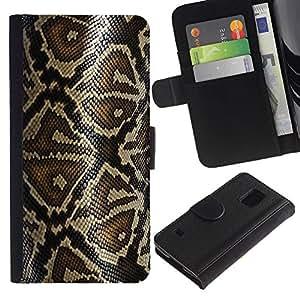 KLONGSHOP / Tirón de la caja Cartera de cuero con ranuras para tarjetas - Snake Pattern Skin Nature Reptile Art - Samsung Galaxy S5 V SM-G900