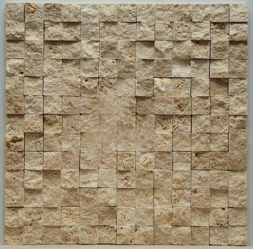 Light 1 X 1 Split Face Travertine Mosaic Tile