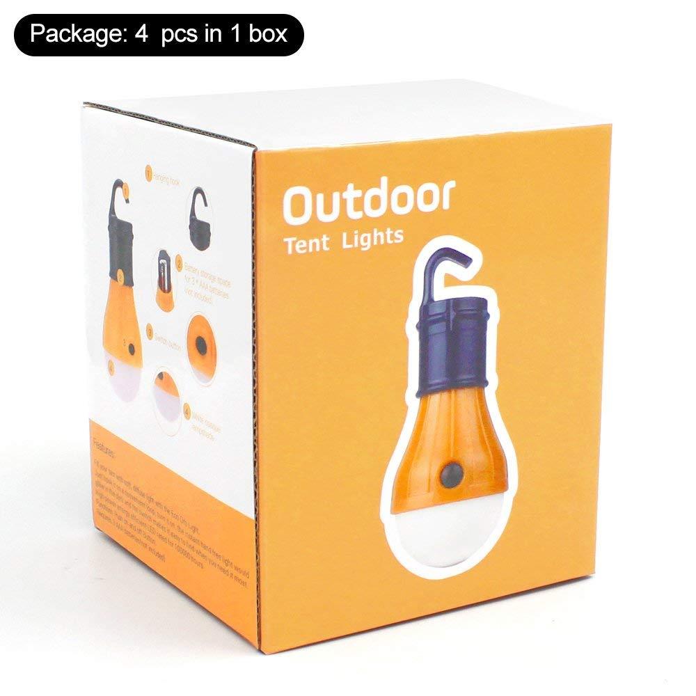 Batterie de Secours Pack de 4 Ampoule de Secours pour Magasin de Camping avec Batterie de Secours /à 3 LED pour Camping-Car DY/_Jin Camping Light
