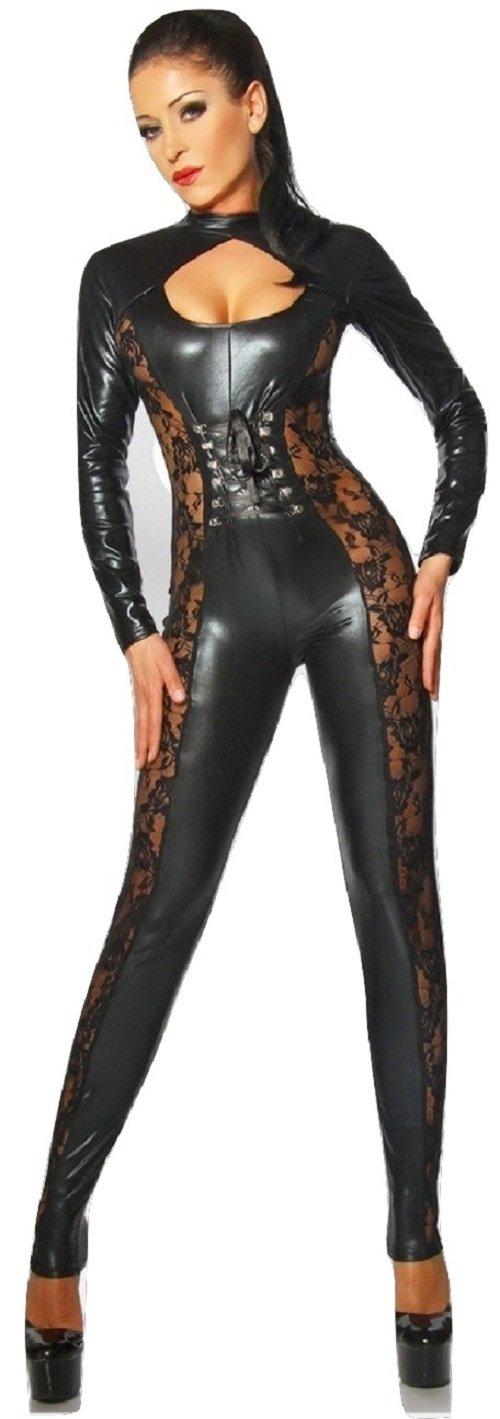 New Mesdames Noir effet mouillé fantaisie fleur dentelle Décoration Body  Combinaison pour femme Body à manches longues avec motif Noir en filet  Clubwear ... f2fbe690f45