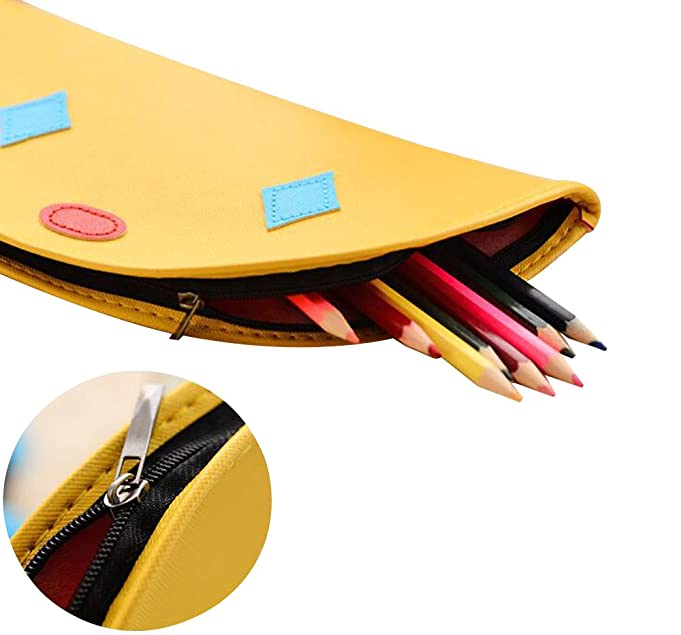 Coolyouth Leather Pencil Case Cute Pen Bag Makeup Pouch Portable Mouse Pad with Zipper for Boys and Girls School Office (Yellow)