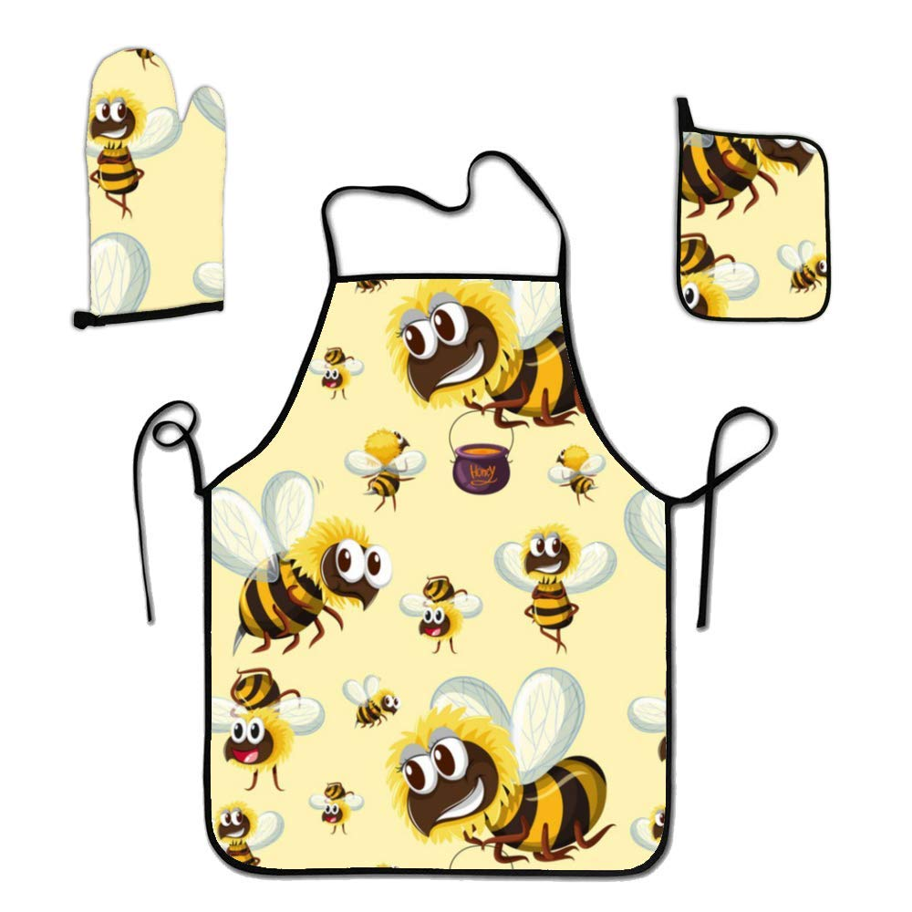 liubajsdj BBQ Apron with Holder and Oven Mitt- Grilling Aprons for Men Insects