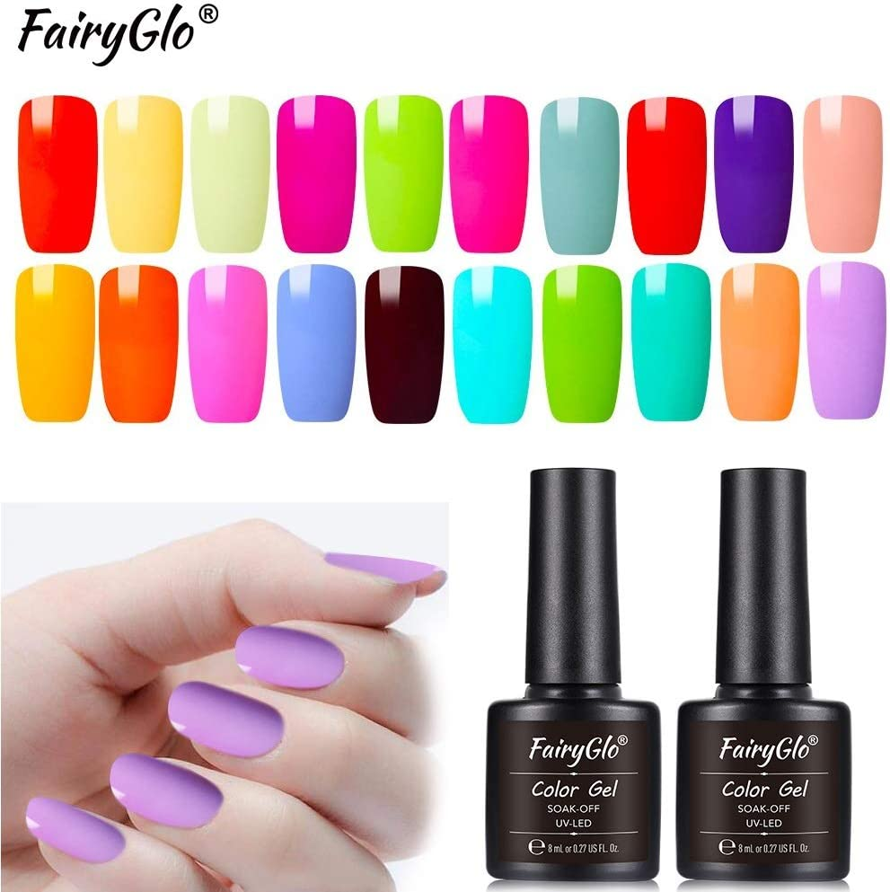 Esmalte de Uñas Semipermanentes Set de Uñas Pintauñas Manicura Semipermanente Color Uñas de Gel UV LED Soak Off 20pcs 8ml de Fairyglo - Macaron kit 009