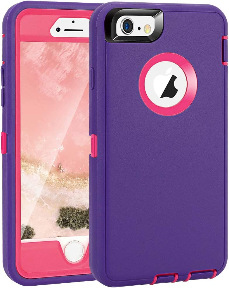 """iPhone 6 Plus/6S Plus Case, Maxcury Heavy Duty Shockproof Series Case for iPhone 6 Plus/6S Plus (5.5"""") with Built-in Screen Protector Compatible with All US Carriers (Purple/Peach)"""