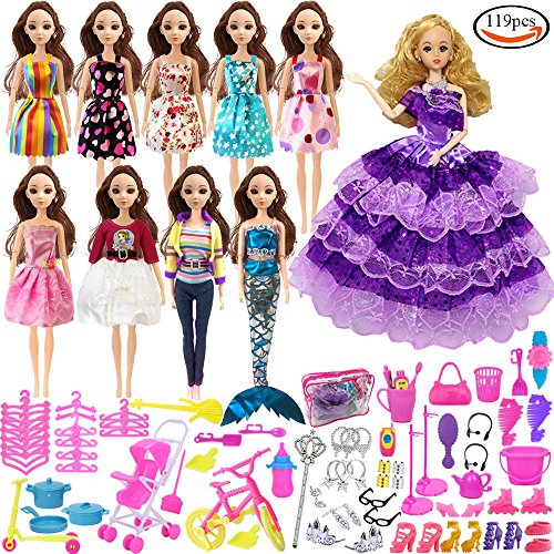 Holicolor 119pcs Barbie Doll Clothes Set Include 10 Pack Barbie Clothes Party Grown Outfits And Randomly 108pcs Different Barbie Doll Accessories, with 1 Bag Different Outfits