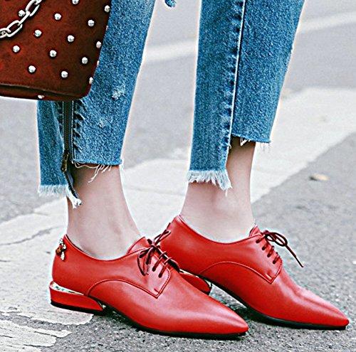 Idifu Womens Stylish Low Chunky Heels Low Top Toup Lace Up Up Oxfords Basse Scarpe Da Ufficio Rosse