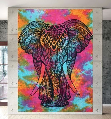 327c1f29e0ba Buy Heyrumbh Handicrafts Boho Tie Dye Psychedelic Front Face Elephant  Tapestry Printed Cotton Wall Hanging Decoration (Multi Colour