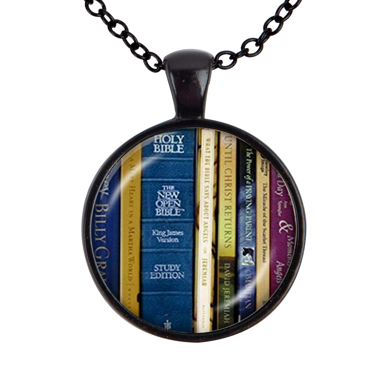 Family Decor Book Quote Library Pendant Necklace Cabochon Glass Vintage Bronze Chain Necklace Jewelry Handmade