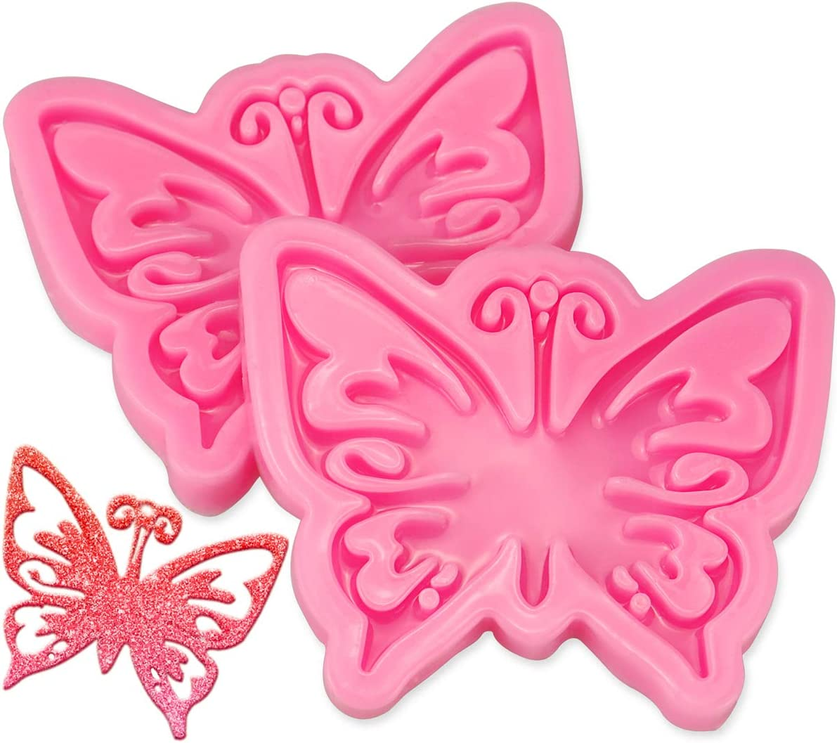 2 Pcs Butterfly Fondant Molds Silicone,Butterfly Skeleton Keychain Molds,Food Grade Silicone Molds for Candy, Icing, Chocolate, Cake Decoration, Pendant and Polymer Clay