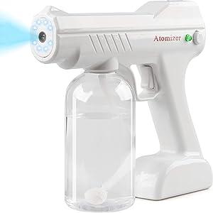 IFLOVE Disinfectant Electrostatic Sprayer Handheld Nano Atomizer, Rechargeable Electric Fogger Machine, 27oz Portable Mist Gun for Home, Office, School, Garden (White)