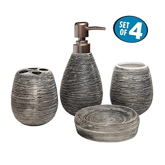 Asien Bathroom Accessories Set 4PC White Ceramic Toothbrush Holder Soap Dispenser Tumbler Soap Dish by - Material: Ceramic Approximate Dimensions (in inches): Soap Dish - 4.3 X 4.3 X 1.2; Toothbrush Holder - 3.7 H X 2.2 Diameter; Tumbler - 3.7 X 2.2 Diameter; Liquid Soap Dispenser - 7 H X 1.7 Diameter. The soap/lotion dispenser in our set is geared up with a stylish metal pump that makes a bold statement in contrast with the brown recipient. It's functional, easy to use, and guaranteed to add a sense of luxury to your bathroom! - bathroom-accessory-sets, bathroom-accessories, bathroom - 61p6%2BDEsISL. SS570  -