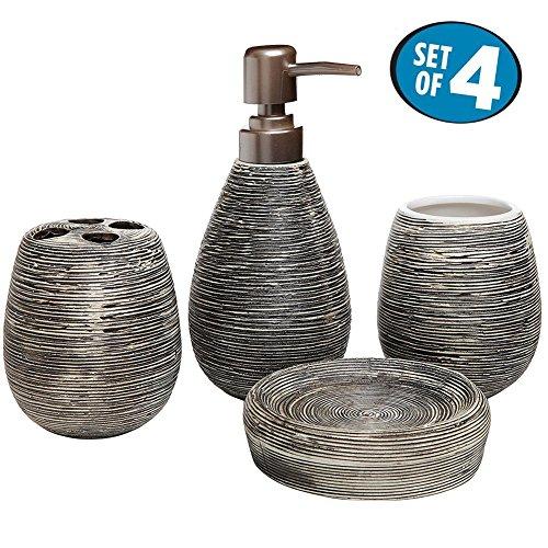 61p6%2BDEsISL - Asien Modern 4 Piece Bathroom Accessories Set Ceramic Soap Dispenser Tumbler Toothbrush Holder Soap Dish