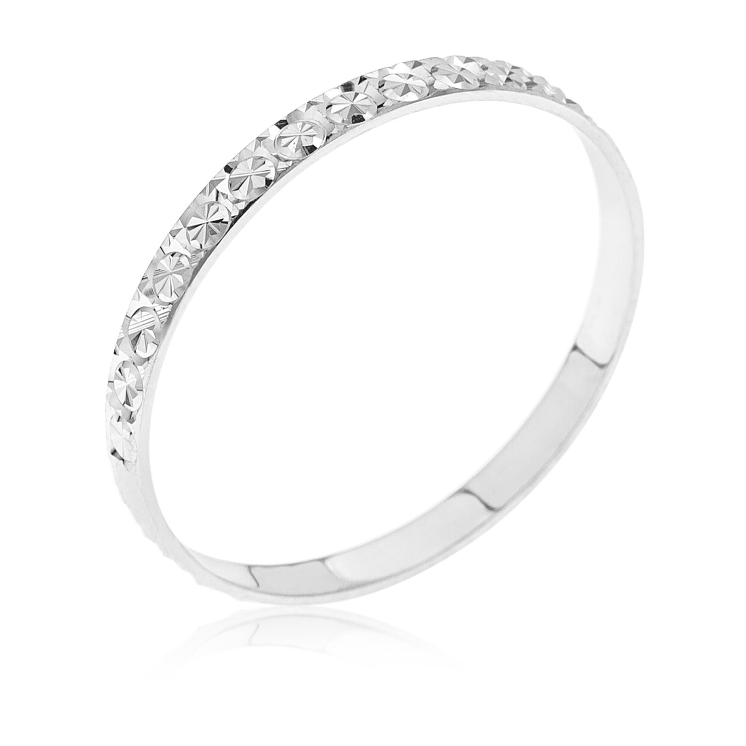Kareco Wedding Ring 9 Carat White Gold Light Flat Diamond Cut