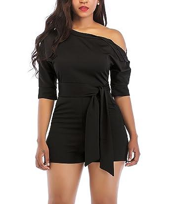 69460ee779b Amazon.com  LAJIOJIO Womens Summer Shorts Jumpsuit Off Shoulder High Waist Jumpsuits  Romper with Belt  Clothing