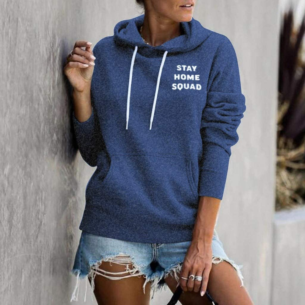 Hoodies for Women Graphic Letter Printed Supersoft Active Casual Loose Autumn Hooded Drawstring Sweatshirts