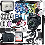 Canon EOS 80D DSLR Camera Premium Video Creator Kit w/ 18-135mm Lens + PZ-E1 Power Zoom Adapter + Sony Monitor Series Headphones + Video LED Light + 32gb Memory + Monopod + High End Accessory Bundle