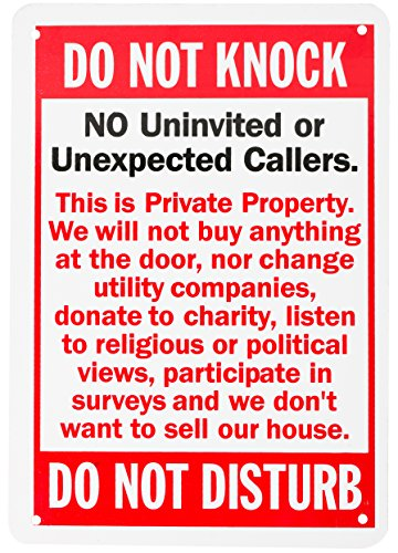 WALI Aluminum Sign for Home Business Security, Do Not Knock Do Not Disturb, Rectangle 10 inch High by 7 inch Wide, UV Protected and Waterproof (SIGN-A-5), Red with Black on White