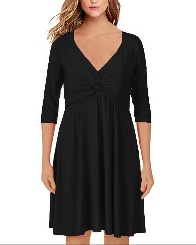 795ce4bb131a StyleDome Damen Langarm Kleid V O Ausschnitt Lose Casual Einfarbig Oversize  Pullover Swingkleid Lange Mini Maxi Kleider  Amazon.de  Bekleidung