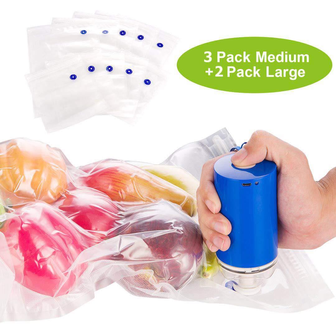 Handheld Food Vacuum Sealer Handy Vacuum Sealing Machine Food Vacuum Packing with 5 Pcs Reusable Food Saver Storage Zipper Vacuum Bags (2*Large+3*Medium) Mini USB Rechargeable Vacuum Sealer Blue