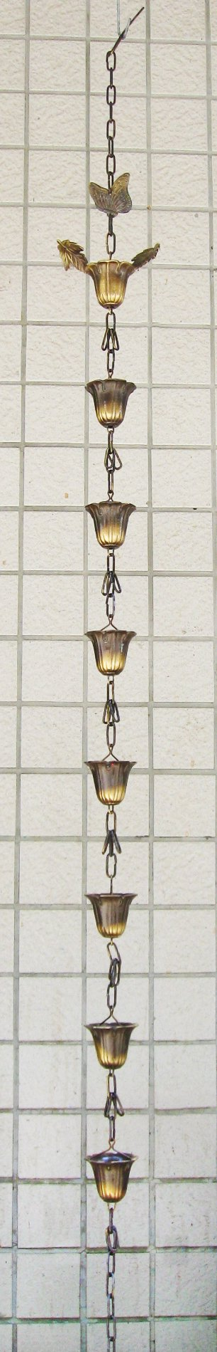Brass Rain Chain with Butterfly & Maple Leaves