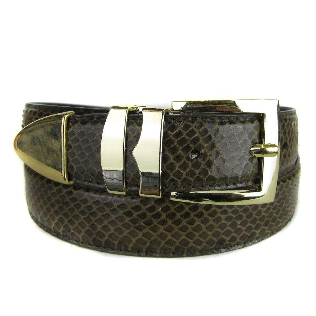 Olive Bonded Snake Skin Fashion Dress Belt