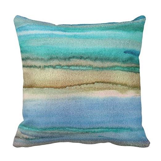 ArtsDecor Funda de Almohada Azul Turquesa Abstracto acrílico ...