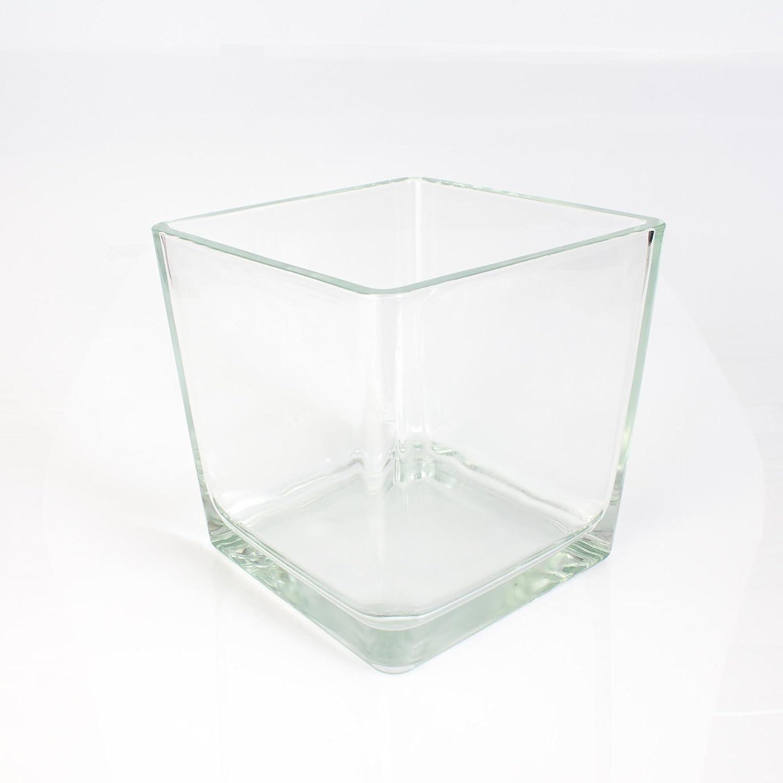 Grande vento luce vetro Kim, Trasparente, 18x 18x 18cm–viereckiges cubi in vetro/ INNA Glas