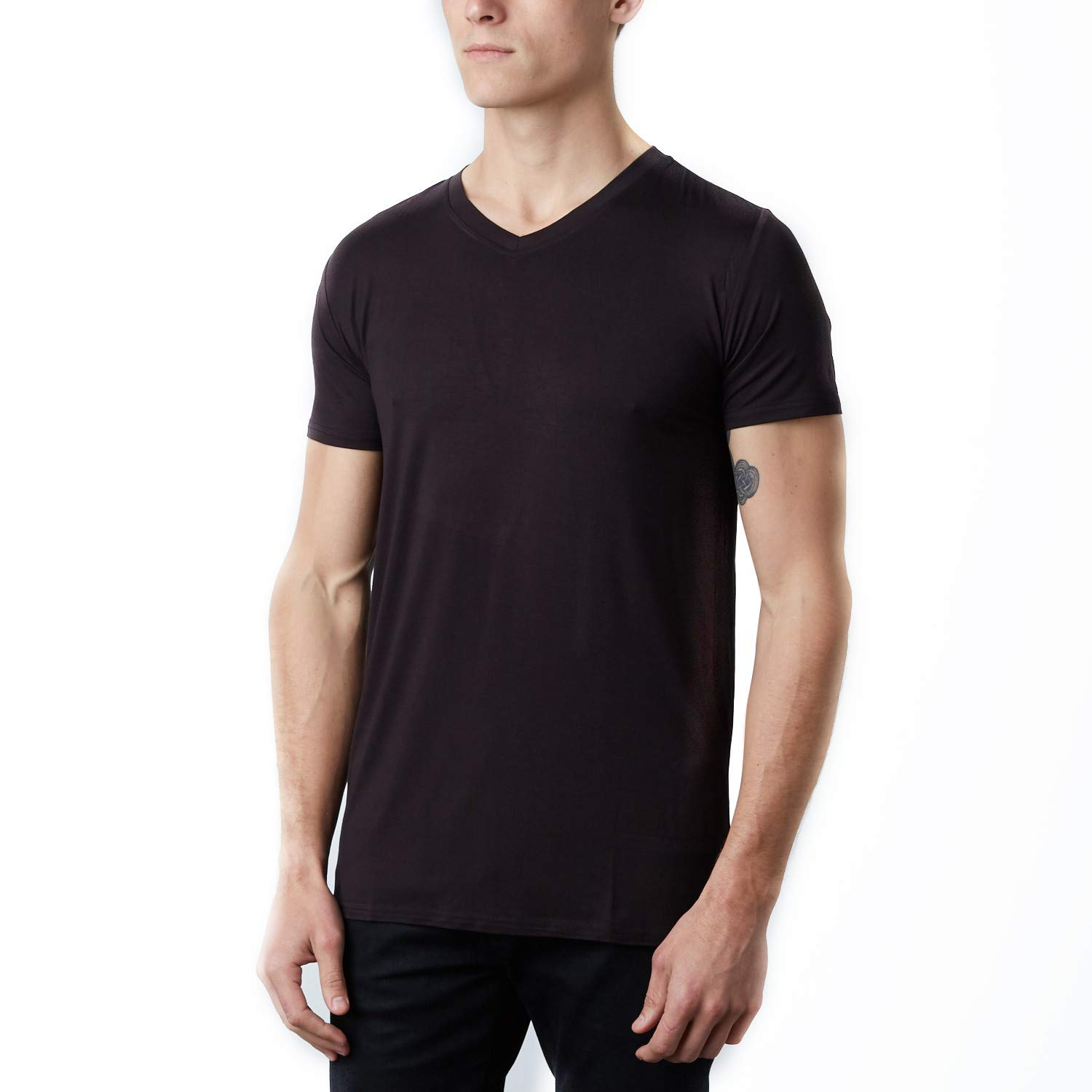 Selective Premium V Neck Bamboo Viscose Undershirt (Small, Black)