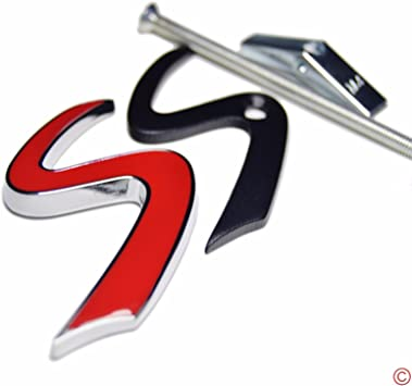 Metal Black Outlining Red S Lettering Front Grille Grill Chrome w// Mount Emblem Badge for MINI Cooper R53 R55 R56 F56