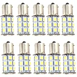 EverBrightt 10-Pack White S25 5050 1156 BA15S / 1141 Base 27SMD LED Replacement Bulb For RV Camper SUV MPV Car Turn Tail Signal Bulb Brake Light Lamp Backup Lamps Bulbs High LUMS (DC-12V)