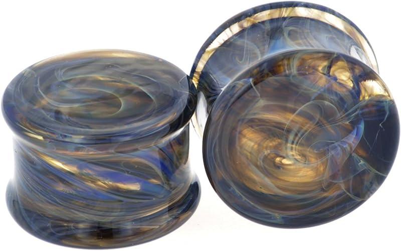 Pair of Glass Double Flared Purple//Smoke Borostone Plugs