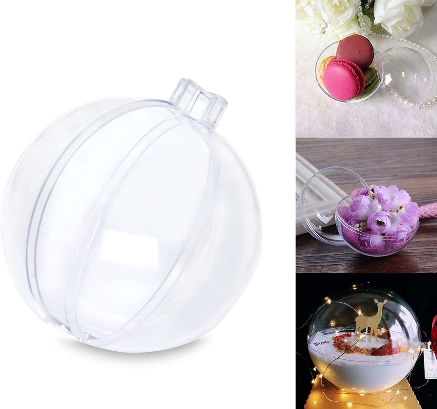 AMS 70mm/30ct Christmas DIY Clear Plastic Fillable Balls, Acrylic Clear Plastic Ornaments Balls Fillable Wedding Party Decor (2.75'', Clear)