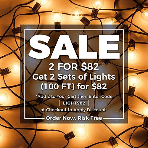 50ft Black String Lights, 60 G40 Globe Bulbs (10 Extra): Connectable, Waterproof, Indoor/Outdoor Globe String Lights for Patios, Parties, Weddings, Backyards, Porches, Gazebos, Pergolas & More by Outdoor Lighting Store (Image #1)