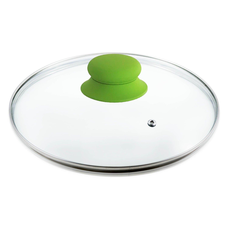 Kerafactum Topfdeckel Glas /Ø 16 cm sp/ülmaschinenfest hitzebest/ändiger Universaldeckel f/ür Topf /& Pfanne geh/ärtetes Qualit/ätsglas Glasdeckel mit Dampfloch hochwertiger Griff silikoniert Gr/ün