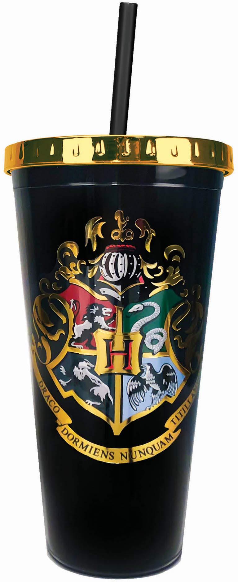 Spoontiques Hogwarts Crest Foil Cup w/Straw, 20 Ounces