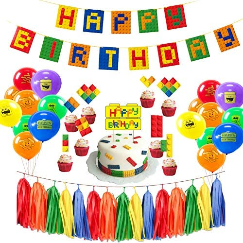PRATYUS Building Block Happy Birthday Party Decorations for Kids Boys Girls Brick and Block Themed Party Supplies Favors With Banner, Tassel Paper Garlands, Cake Toppers and Latex Balloons