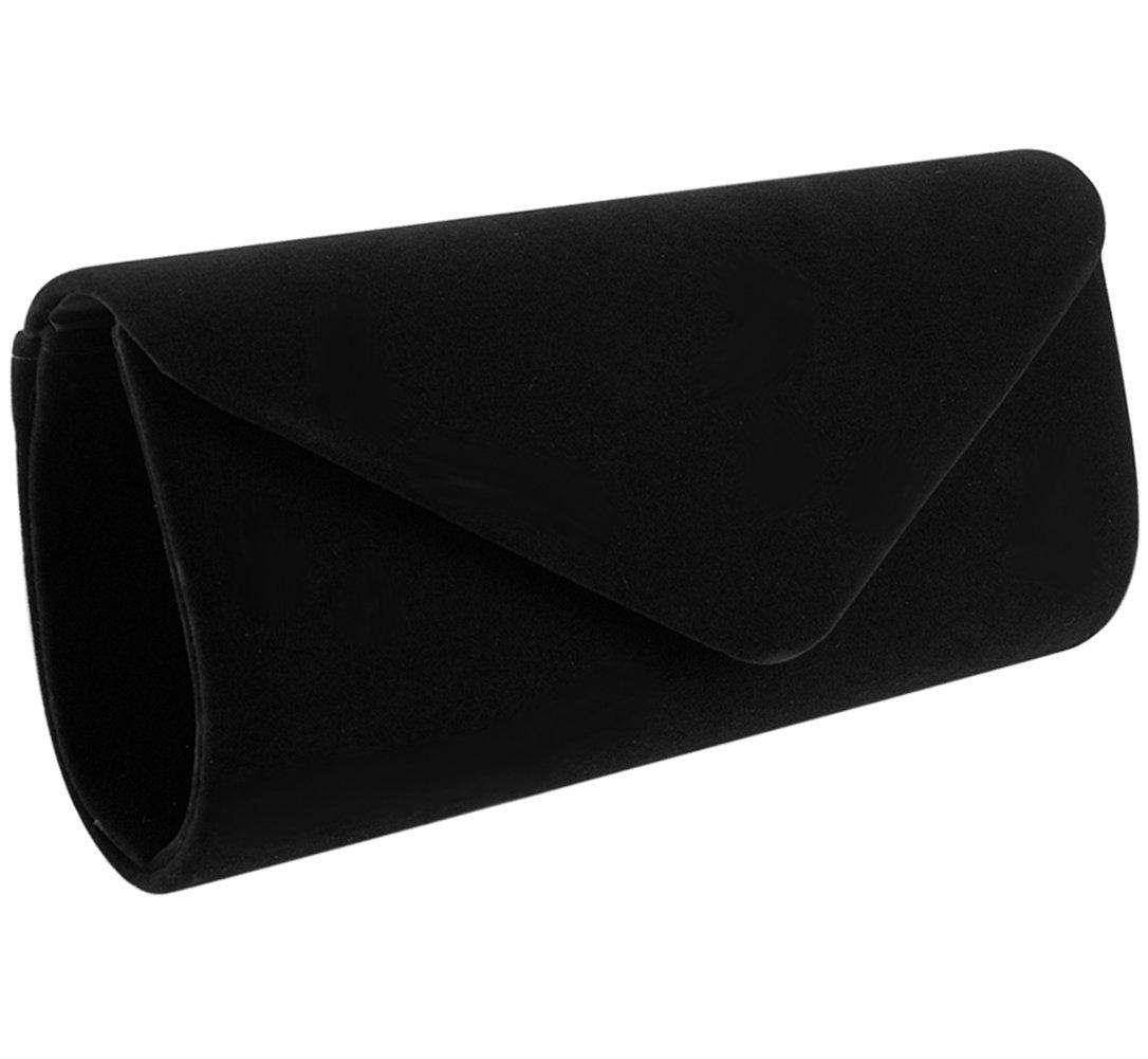 Jubileens Wedding Evening Party Velvet Clutch Bag Retro Envelope Cross Body Handbag (black)