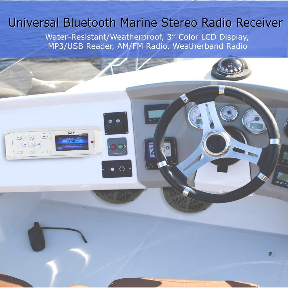 Pyle Bluetooth Marine Stereo Radio - Waterproof/Weather proof Single DIN 12v Boat Receiver with Digital Color LCD, RCA, MP3/USB, AM FM Radio - Wiring Harness, Remote Control - PLMR15BW (White) by Pyle (Image #6)