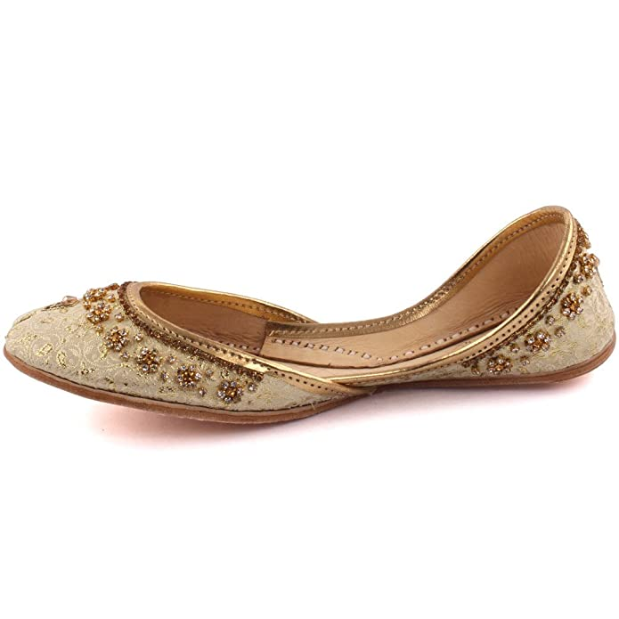 Unze Women Ladies Traditional MALLA Beaded Indian Casual Leather Flat  Khussa Slippers Shoes 3 UK Gold: Amazon.co.uk: Shoes & Bags