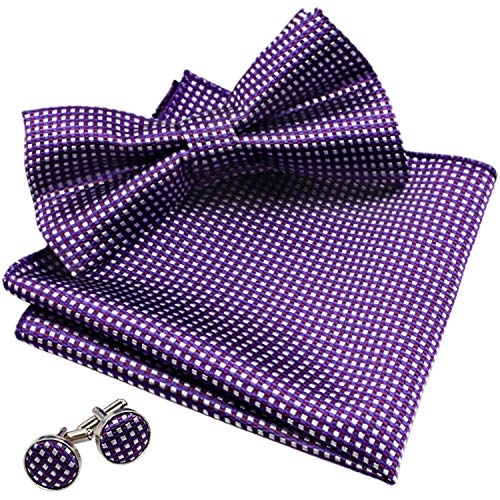 (Alizeal Men's Vintage Checkered Bow Tie& Handkerchief& Cufflinks Set (Dark Purple))