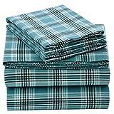 EnvioHome 160 Gram Flannel 4 Pc Sheet Set - Queen, Green Plaid