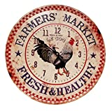 French Country Rooster Decor ''Farmer's Market'' Vintage Metal Wall Clock