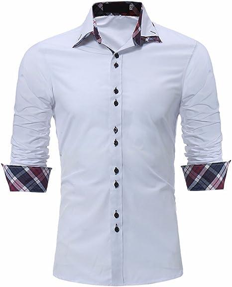 GK Hombre Camisa Moda Casual Camisa de Vestir Slim Fit Aldea cuello doble rejilla de color blanco, delgado de ocio, L.: Amazon.es: Deportes y aire libre