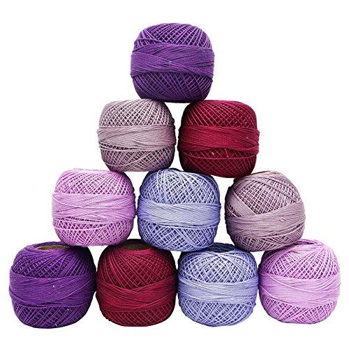Multicolor Mercerized Cotton 10 Pcs Crochet Yarn Tatting Skein Embroidery Thread ()