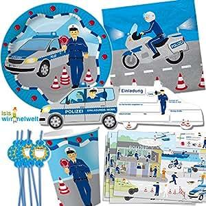 Riethmüller - Complementos para fiesta de cumpleaños con 8 niños (90 unidades, en alemán, incluye platos, vasos, servilletas, invitaciones, manteles individuales, pajitas, globos, etc.), diseño de policía