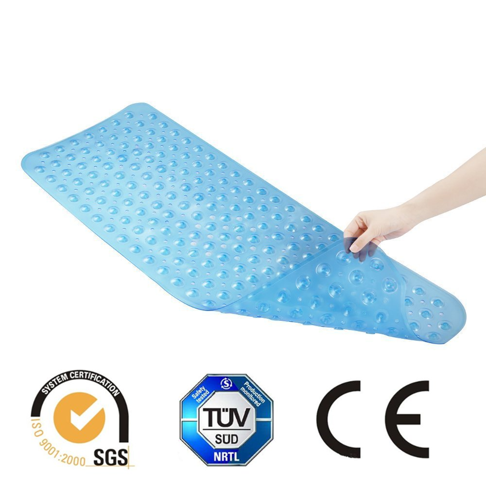 WenX Extra Lungo Antiscivolo per vasca da bagno vasca da bagno doccia batteri Matte Anti Tappetini in gomma, Superior Manico e drenaggio (40 cm x 100 cm) Blau