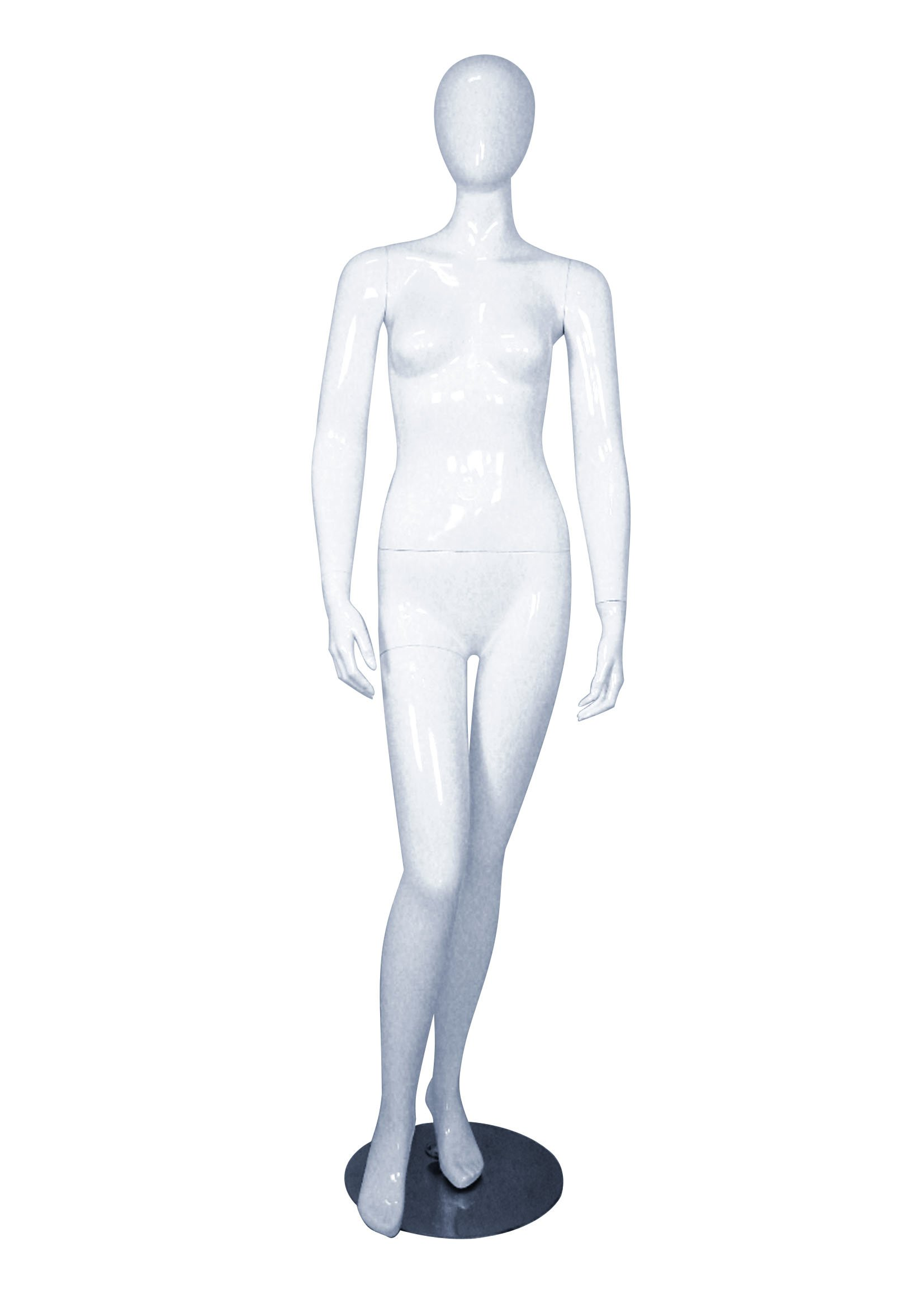 AMKO MICHELLE-1WHITE Female Mannequin with Head, Hands Down at Side, 32'', Glossy White