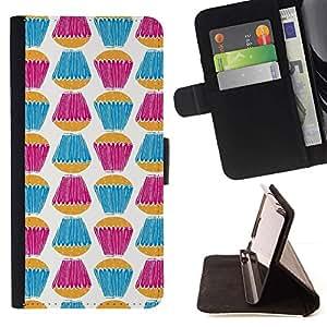 For LG G4 Case , Teal blanco púrpura dulces Hornear- la tarjeta de Crédito Slots PU Funda de cuero Monedero caso cubierta de piel
